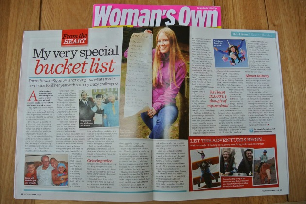 Emma's Bucket List features in Woman's Own Magazine 14th Jan 2013 Edition
