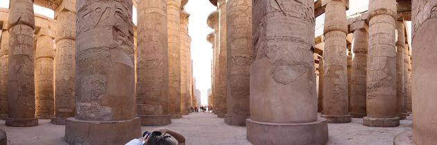 A panoramic view of the great hypostyle hall in the Precinct of Amun Re