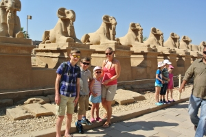 My Children and I at the Entrance to Karnak, near the Sphynx
