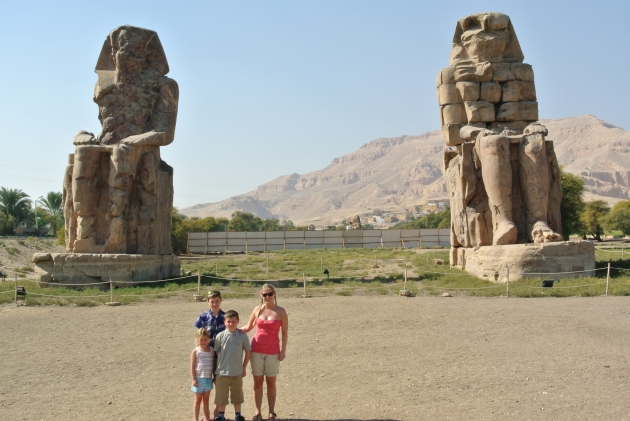 The kids and I at the Entrance to the Valley of the Kings