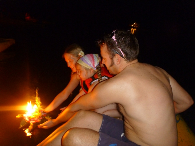 Releasing our Loi Kratong onto the water