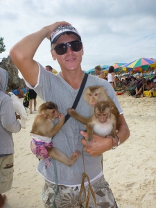 How did he obtain 3 baby monkeys-and more to the point why is he using them to rip off tourists?! Grrr