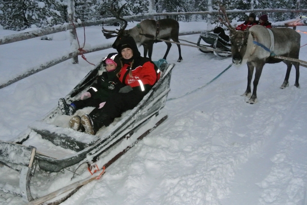 My Daughter and I about to go for our Reindeer sleigh ride
