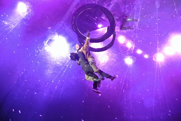A Spectator being hoisted out of The Bubble