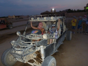 Us in our Spider Car/ Dune Buggy before our drive through the desert