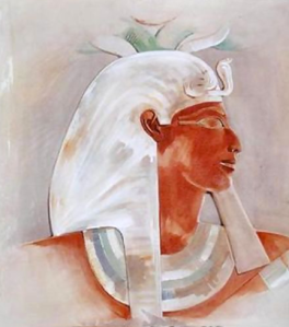 Queen Hatshepsut, depicted wearing a beard that male pharaohs adorned