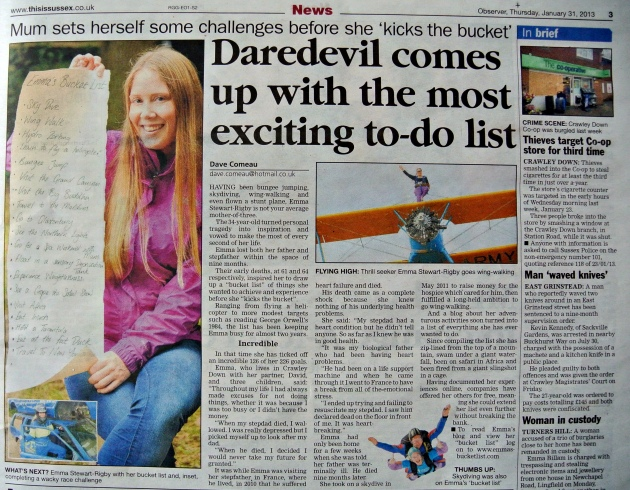 Emma's Bucket List East Grinstead Observer - Thurs 31/1/13 - Page 3