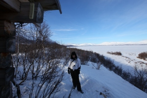 Me at the bird observatory by the Lake, Abisko National Park