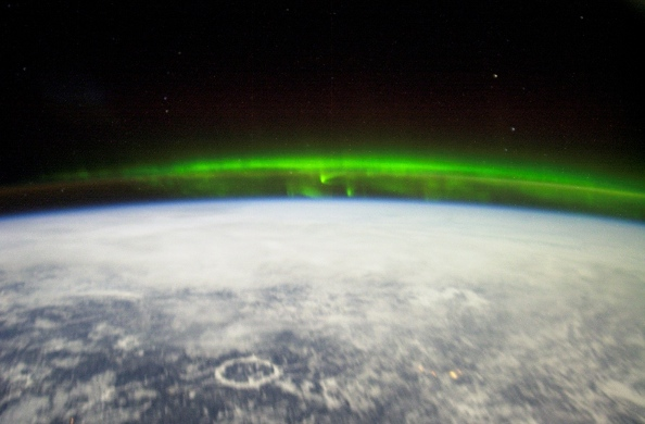 Aurora over Earth, taken from the International Space Station.