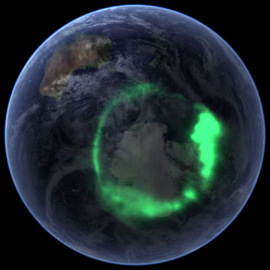 NASA's Satellite Image of the Aurora Austrealis (Southern Lights) over the Antactic Polar region